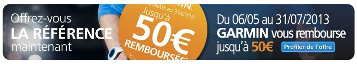 Offre de remboursement Garmin Forerunner
