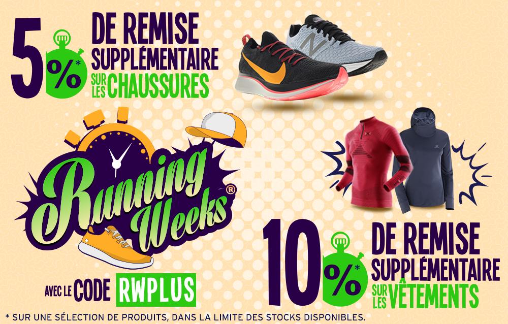 Running weeks : promotions chaussures et vêtements de running