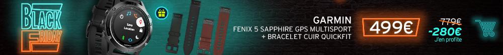 Garmin Pack Fenix 5 Sapphire GPS Multisport + Bracelet cuir Quick