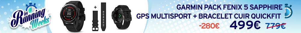 Garmin Pack Fenix 5 Sapphire GPS Multisport + Bracelet cuir QuickFit RW