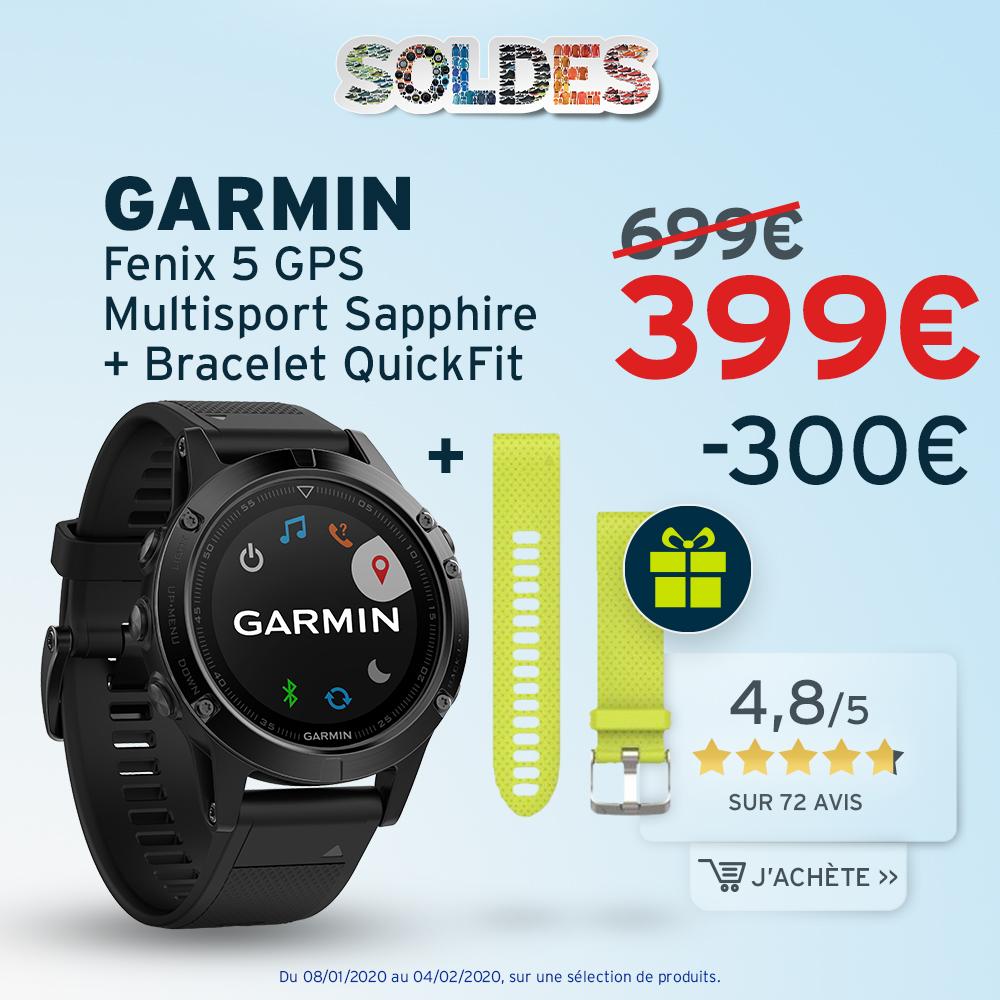 Garmin Fenix 5 GPS Multisport Sapphire + Bracelet Quickfit