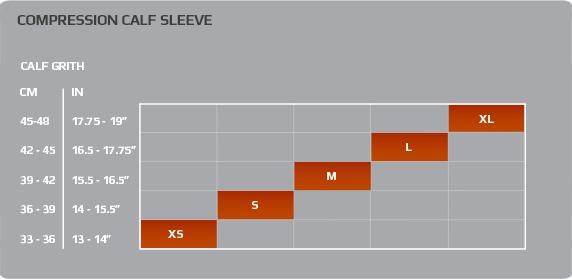 Guide des tailles 2XU Compression Calf Guard