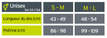 Guide des tailles Salomon XA 35 SET