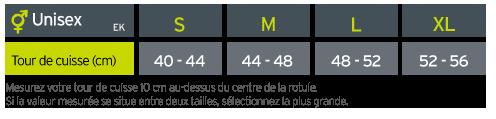 Guide des tailles Zamst Genouillère de stabilisation EK-1