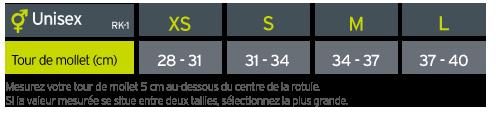 Guide des tailles Zamst Genouillère TFL RK-1 droite